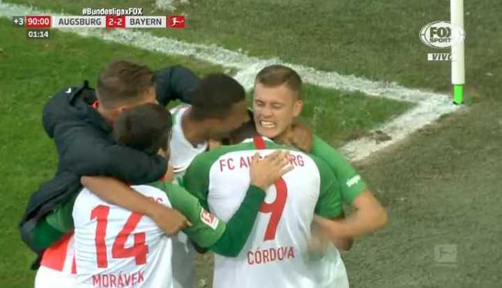 Mirá los goles del empate 2 a 2 entre el Augsburg y el Bayern