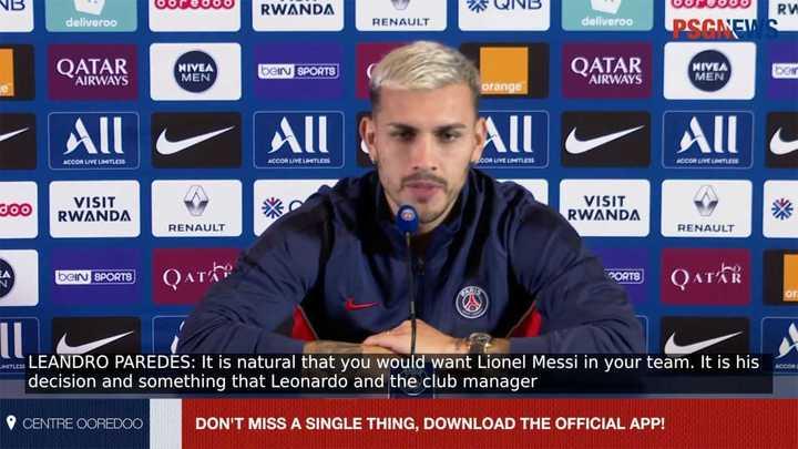 Paredes habló sobre la chance de Messi al PSG