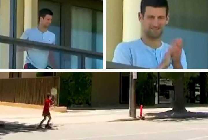 Nole salió al balcón para ver tenis callerjo