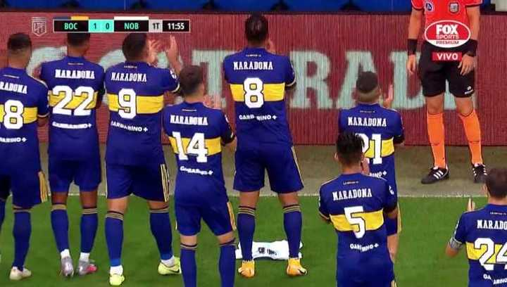 Gol de Cardona y festejo para Diego