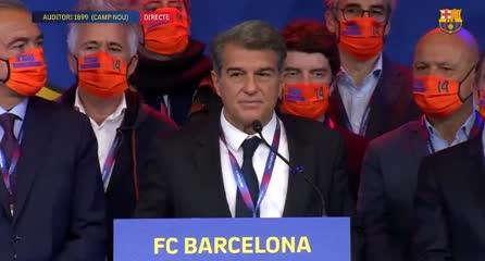Laporta pidió un aplauso para Messi en su primer discurso como presidente electo del Barcelona