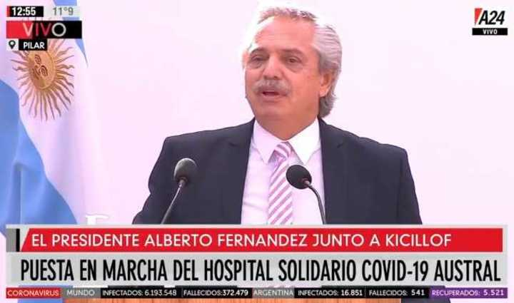 Alberto Fernández en la puesta en marcha del Hospital Solidario Covid-19 Austral