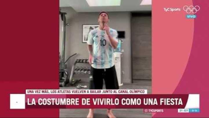 Messi bailando con los olímpicos