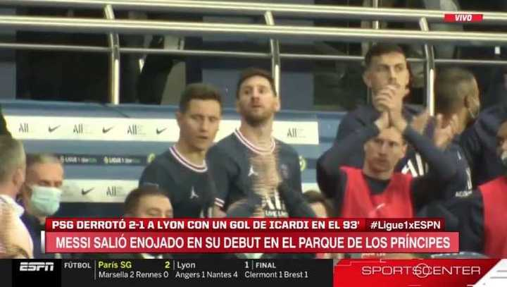 La reacción de Messi en el gol de Icardi
