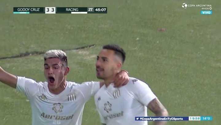 Todos los goles del empate 3 a 3 entre Godoy Cruz y Racing