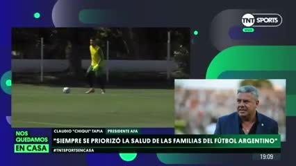 """""""No sería una locura la vuelta del torneo a fines de septiembre"""", dijo Claudio Tapia."""