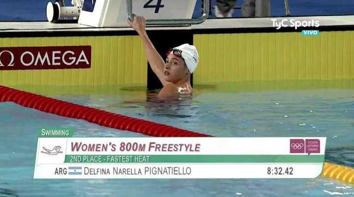 Delfina Pignatiello le dio la plata a Argentina en natación — Videos