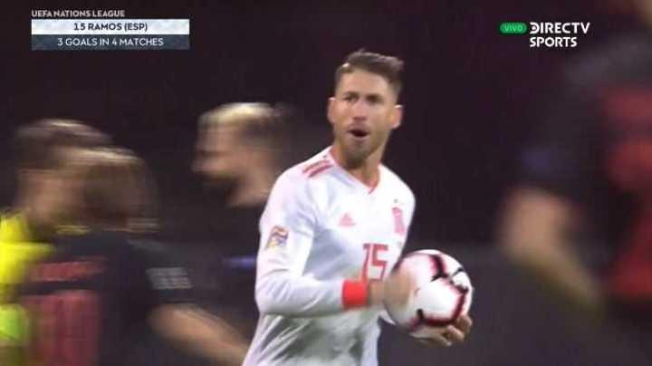 Ramos marcó el 2 a 2 de España