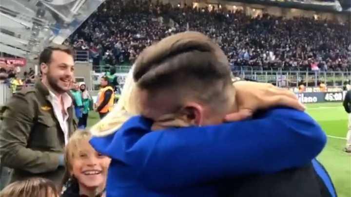 El beso de Wanda Nara y Mauro Icardi luego de la victoria del Inter