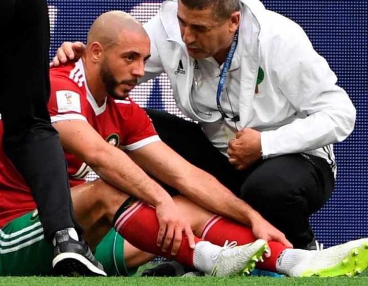 El marroquí Nordin Amrabat acabó con conmoción cerebral