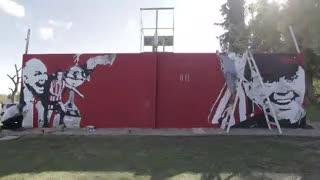 Mirá el mural que armaron en los hinchas del Colectivo Cultural Alejandro Sabella