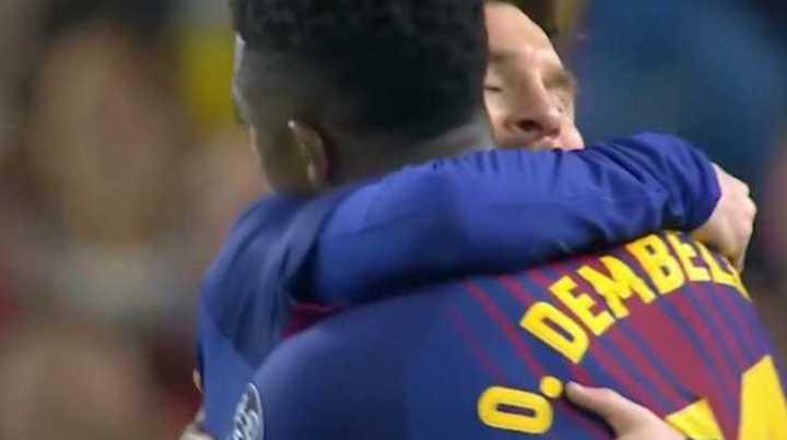 Asistencia de Messi y gol de Dembelé