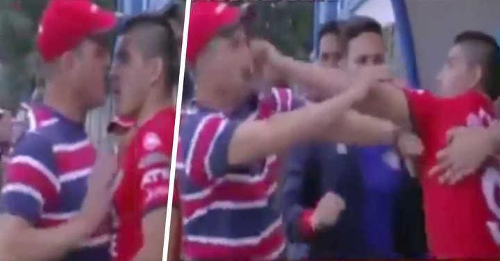 El Pochi Chávez a las piñas en el banco