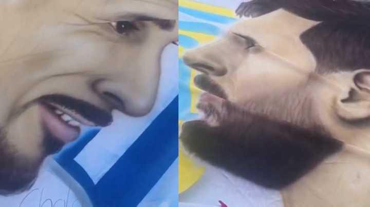 La bandera de Messi y el Cholo de Talleres