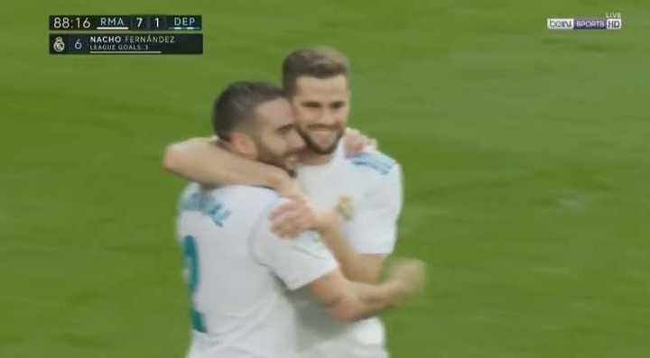 Nacho también metió dos goles ante La Coruña