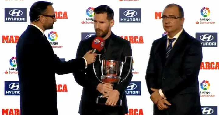 Messi recibió el trofeo Pichichi y analizó la Liga