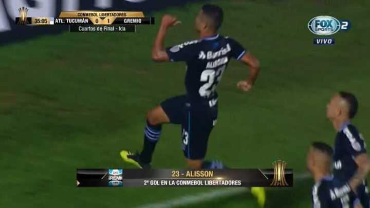 Alisson marcó el 1 a 0 para Gremio