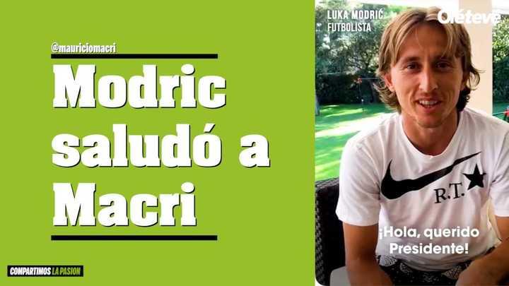 Luka Modric saludó a Macri y le regaló una camiseta
