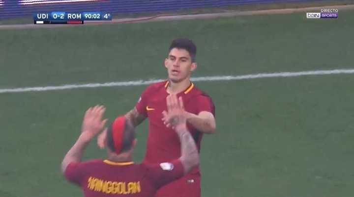 Perotti marcó el 2 a 0 de la Roma