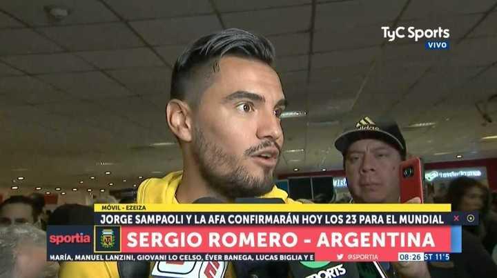 Romero habló en su llegada al país