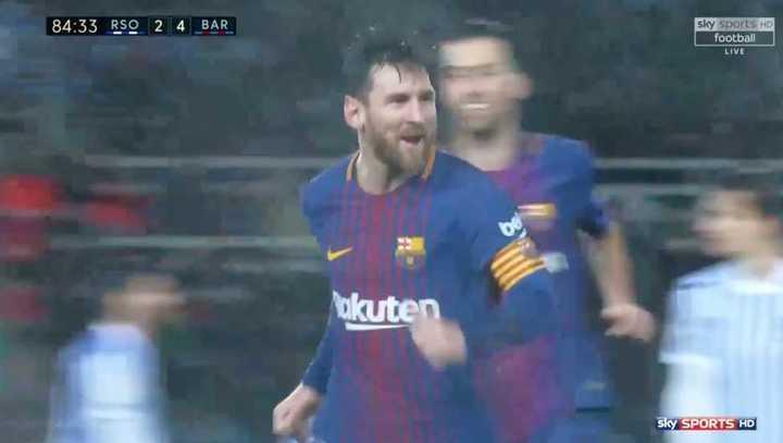 Mirá el golazo de Messi a la Real Sociedad de todos los ángulos