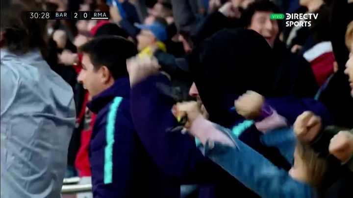 El festejo de Messi tras el segundo gol del Barcelona