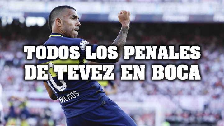 Tevez: todos los penales en Boca