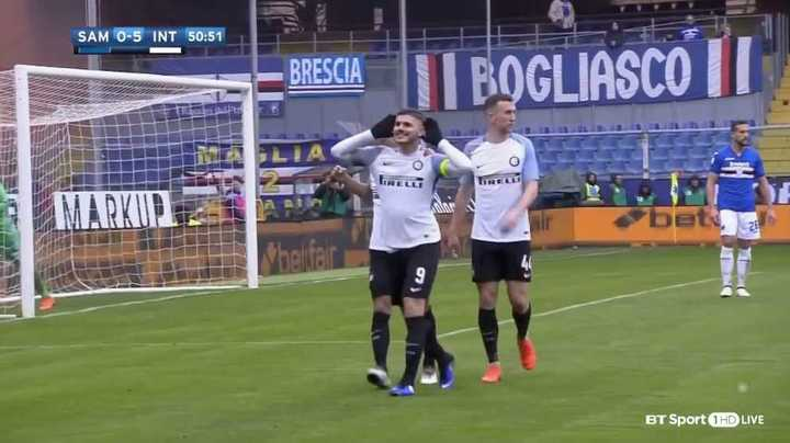 Poker de Icardi                                                   Inter 5- Sampdoria 0