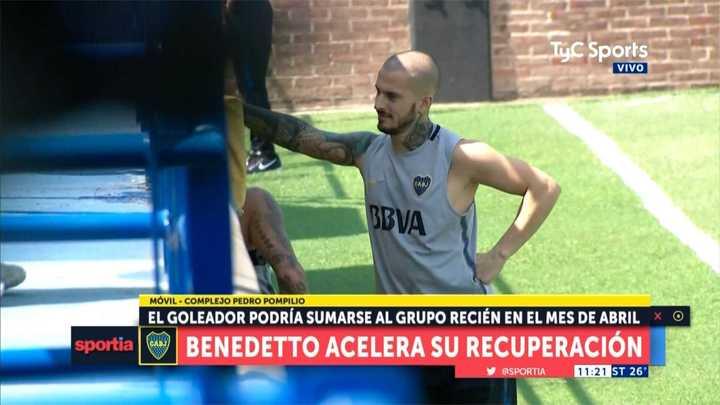 Benedetto en el entrenamiento de Boca