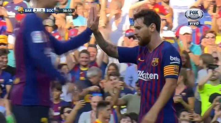 Messi marcó el 2 a 0 de Barcelona