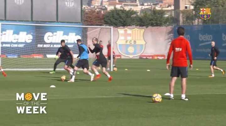 Messi dejó desparramado al croata Rakitic en la práctica