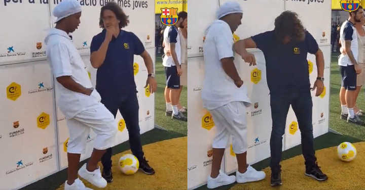 Ronaldinho se lució con un túnel a Puyol