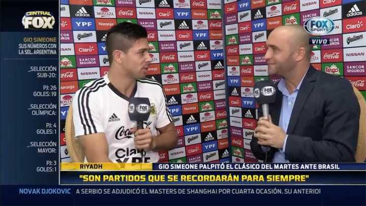 Gio Simeone habló sobre el partido ante Brasil