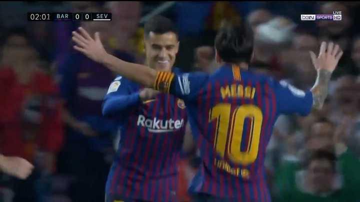 Asistencia de Messi, golazo de Coutinho