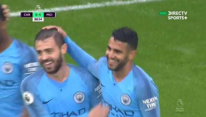 Doblete de Mahrez y 5 a 0 para el City