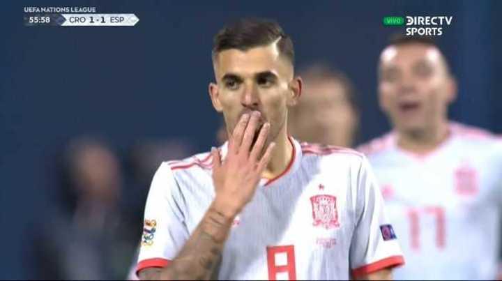 España lo empató con gol de Ceballos
