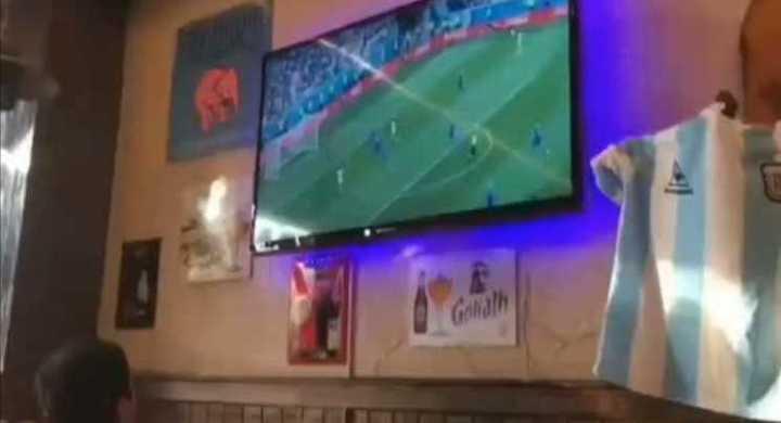 El festejo argentino en un bar de Rusia