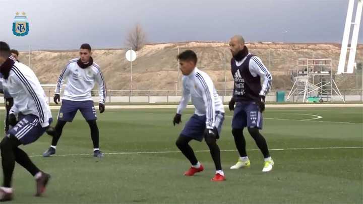 Argentina entrenando en el complejo del Real Madrid