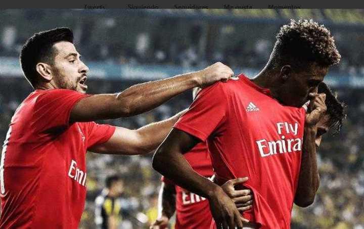 Salvio participó del gol del Benfica