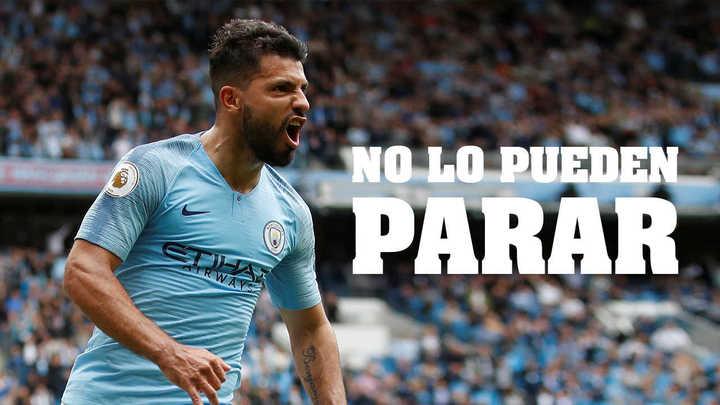 Los tres goles del Kun Agüero en la victoria del Manchester City