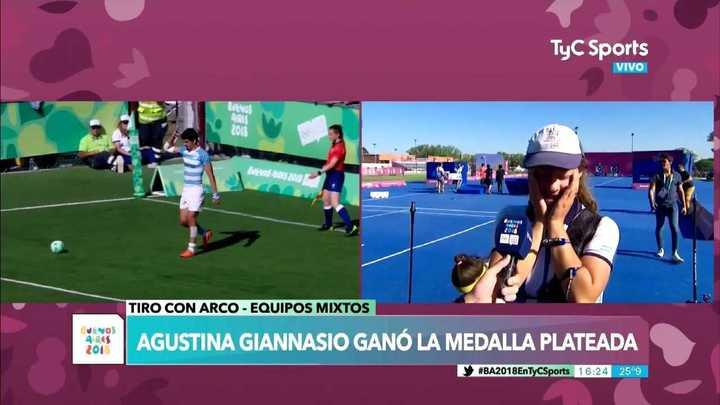 Agustina Giannasio y su alegría por la medalla plateada
