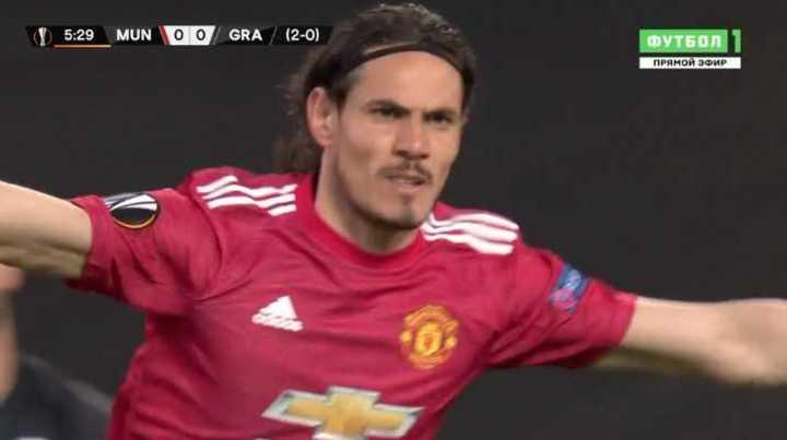 Cavani marcó el 1 a o del Manchester