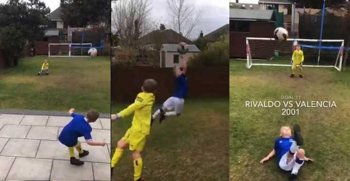 Dos nenes recrearon goles top en su jardín