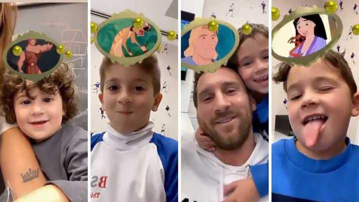 Antonela y Messi jugando con sus hijos