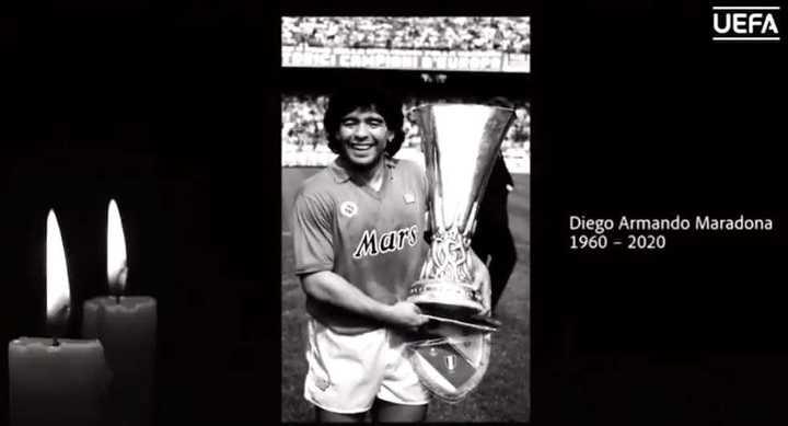 El homenaje de la UEFA a Maradona