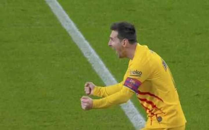 Messi marcó el 2 a 1 del Barcelona