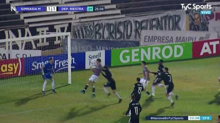 El gol mal anulado a Gimnasia de Mendoza ante Riestra