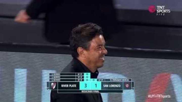 La felicidad de Gallardo tras el 3-1 a San Lorenzo
