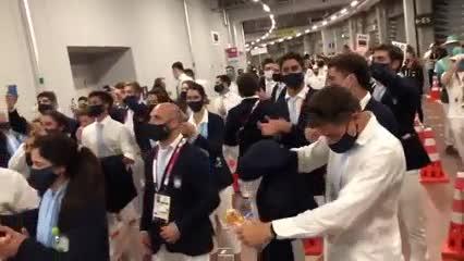 """El """"vamos vamos Argentina"""" en la previa a la ceremonia inaugural de Tokio 2020"""