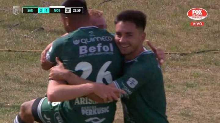 Gondou marcó el 2 a 1 de Sarmiento